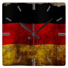 #Deutsche #Flagge - #Vintag #Wanduhr   #Zazzle