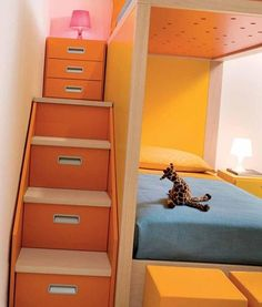 Bedroom, Kids Bedroom Orange Stairs Red Unique Lamp Yellow Pillow: Children's Bedroom Designed in Assorted Color Furniture Cool Kids Bedrooms, Awesome Bedrooms, Colorful Furniture, Kids Furniture, Orange Kids Rooms, Toddler And Baby Room, Bedroom Orange, Bunk Beds With Stairs, My New Room
