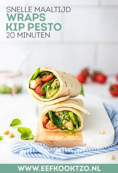 Wraps kip pesto Food Facts, Food Blogs, High Tea, Wraps, Good Food, Veggies, Mexican, Healthy Recipes, Healthy Food
