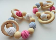 Baby teether Wooden toys  Crochet Wood teether Crochet teething toy Gift for baby girl Pink Grey White