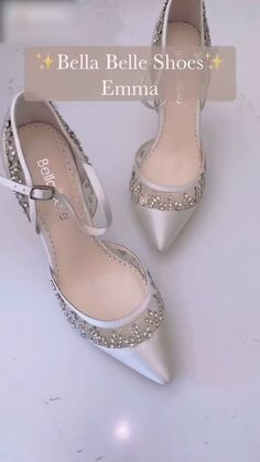 Bella Belle Emma crystal & bling wedding shoes with rhinestones and sparkly crystals. Perfect for a glam bride wearing a sequin wedding dress.