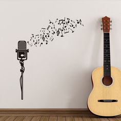 Wall Sticker Musical Notes Microphone Creative Modern Home Decor For Living Room Vinyl Stickers Microphone Wall Stickers Art #Affiliate