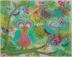 Dream Owl Original Mixed Media Painting by by CreativelyHappyOne