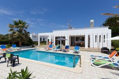 Villa Solana is a beautiful 4 bedroom villa with private pool, wifi, Pool heat, air con, PoolFence. Villa With Private Pool, Balearic Islands, Heated Pool, Menorca, Spain, Mansions, House Styles, Villas, Outdoor Decor