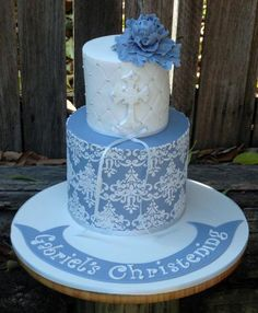 stunning cakes | Boy Christening Cake, Blue Christening Cake, Christening Cake, Dusty ... Mini Tortillas, Baptism Cross Cake, Christian Cakes, Christening Cake Boy, Baptism Photography, Cross Cakes, Religious Cakes, First Communion Cakes, Cupcake Cookies