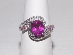 NEW Radiant Orchid Quartz Puink Sapphire Diamond Ring Platinum Sterling Sz 6 Under The Surface, Rainbow Quartz, Sapphire Diamond, Cushion Cut, Orchid, Heart Ring, Stones, Jewels, Crystals