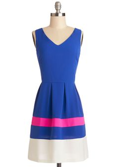 Bright Around the Block Dress. Youre excited to explore your new neighborhood in this bright, colorblocked dress! #blue #modcloth