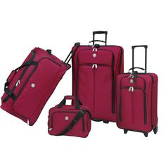 Luggage Sets Collections | Euro Value II Collection Deluxe 4 Piece Travel Set in Red ** For more information, visit image link. Note:It is Affiliate Link to Amazon.