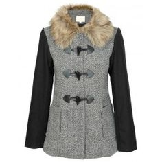 Black Contrast Sleeve Fur Collar Tweed Toggle Coat £ 49.95 #contrastsleevecoat #chiarafashion