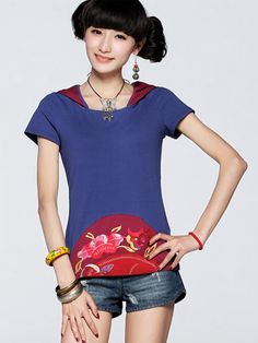#Wholesale embroidery hoody tee shirts for women  Only$11.5    #skirts #shirts #tops #fashion clothing
