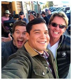 Awesome casual cell phone photo of Nathaniel, Chris and Graham on set in High River.