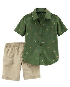 Baby Boy Carter's Woven Patterned Button Down Shirt & Shorts Set, Print Little Boy Fashion, Baby Boy Fashion, Fashion Kids, Baby Boy Clothing Sets, Cute Baby Clothes, Outfits Niños, Baby Boy Outfits, Carters Baby Boys, Toddler Boys