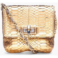 LANVIN Gold Python Skin Bag ❤ liked on Polyvore