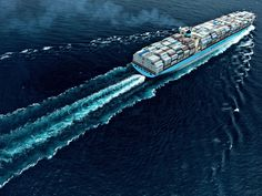 Maersk ship and wake.
