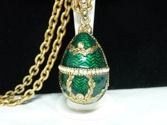 Holiday 2015 Sale - Marked Down 20% ! #GiftIdeas Holiday Sale!!!  Bejeweled Egg Pendant - Green Enamel, Gold and White Pearl Beads - Goldtone Chain - #Vintage Statement Necklace offered by #TheJewelSeeker on Etsy  Style:  B... #vintage #jewelry #teamlove #etsyretwt #ecochic #thejewelseeker