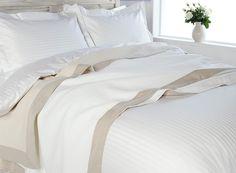 Linge de lit entretien facile en polycoton 120 fils FINES RAYURES SATIN (1CM)