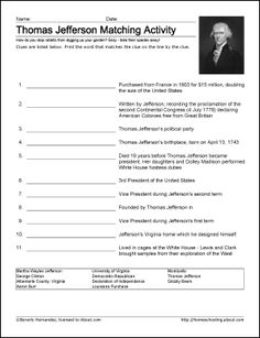 Thomas Jefferson Worksheets and Coloring Pages: Thomas Jefferson Vocabulary Worksheet