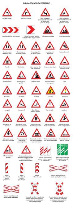 indicatoare-rutiere-de-avertizare-codul-rutier Driving School, Aesthetic Gif, Driving Training School