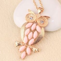 Pink Gems Owl Necklace