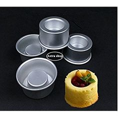 Astra shop 3-Inch Mini Cake Baking Pans Set of 4 - For Making Filled Cakes With Hollow Centers/ Single Serve Mini Baking Pans/ Baking Gift/ Holiday Dessert/ Single Cakes
