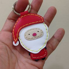 Santa Claus Leather Keychain  Red  by leatherprince on Etsy, $21.90