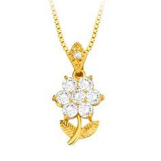 Hoy con el 51% de descuento. Llévalo por solo $17,600.Colgante Flor Cristal Zirconia 18k collar plateado con adorno de oro.