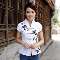 Open neck Oriental style ladies white shirt - Using lifestyle sources of different countries for ideas when making your own patterns for styling individual dress making is inspiring. Oriental Fashion, Asian Fashion, Oriental Style, Chinese Shirt, Chinese Clothing, Chinese Dresses, Cheongsam Dress, Batik Dress, Ao Dai