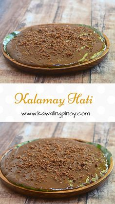 Kalamay Hati is a Filipino rice cake made with glutinous rice flour, coconut milk and muscovado brown sugar
