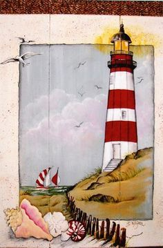 keeper of the lighthouse print Beth WagnerThis is a lighthouse plaque by Beth Wagner, Keeper of the Lighthouse E-Packet - Beth Wagner.I can paint a picture of a light house, then paint separate pictures of things and stick them. Tole Painting, Painting On Wood, Watercolor Paintings, Lighthouse Drawing, Lighthouse Decor, Lighthouse Pictures, Beach Crafts, Beach Art, Painted Rocks