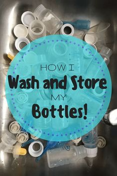 Wash and Store bottles plus diy storing method. Bottle feeding means a lot of bottles and pump parts need to be washed. Here is how I kept the bottle washing under control and how I stored my bottles. Storing Baby Bottles, Washing Baby Bottles, Cleaning Bottles Baby, Baby Bottle Storage, Baby Bottle Organization, Baby Storage, Baby Hacks, Mom Hacks, Baby Tips