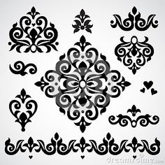 Vector set with classical ornament in Victorian style.