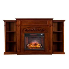 binghamton 725 in w bookcase infrared electric fireplace in autumn oak - Menards Fireplace Tv Stands