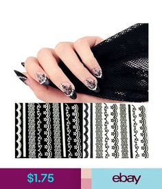 Nail Art Accessories 30 Sheets Lace Nail Art Stickers Black White Diy Tips Decal Manicure Tools Ky