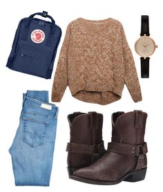 """comfy"" by gecegoker on Polyvore featuring moda, Relaxfeel, AG Adriano Goldschmied, Frye, Barbour, Fjällräven, Winter, outfit ve daily"