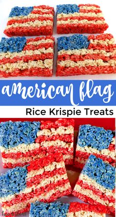 Our 4th of July Rice Krispie Treats are a fun, delicious and easy to make treat for your 4th of July party! This Red White and Blue American Flag Rice Krispie Treat will be a hit with friends and family.  Pin this delicious 4th of July dessert for later and follow us for more fun 4th of July Food Ideas. #4thofJuly #fourthofjuly #4thofJulyTreats #RiceKrispieTreats #4thofJulyDesserts #4thofJulyFood 4th Of July Desserts, Fourth Of July Food, 4th Of July Celebration, 4th Of July Party, July 4th, 4th Of July Camping, Rice Krispy Treats Recipe, Rice Crispy Treats, Krispie Treats