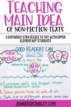 Main idea is always a challenging concept for students to grasp, but main idea of non-fiction texts is even more difficult. Check out these three different ways to teach main idea in upper elementary! Main Idea Activities, Teaching Main Idea, Good Readers, Mentor Texts, Reading Resources, Third Way, Upper Elementary, Read Aloud, Anchor Charts