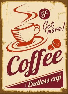 Coffee painting item Tin Sign Bar pub home Wall Decor Retro Metal Art Poster for beer bar painting Retro Cafe, Café Retro, Deco Retro, Vintage Cafe, Retro Vintage, Vintage Italian, Retro Style, Vintage Style, Vintage Coffee Signs