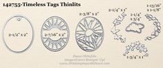 Sizes of the Timeless Tags Thinlts Dies from the 2017 Occasions Catalogue. In Canada get Stampin' Up! at http://tracyelsom.stampinup.net