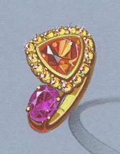 Vibrant Orange Garnet and Pink Topaz Ring, 18k finish over 14k yellow gold with mandarin garnet and pink topaz