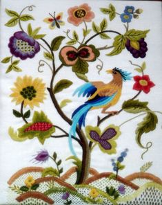 Jacobean crewel embroidery
