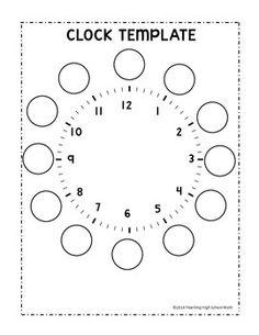 by Teaching High School Math Clock Worksheets, 1st Grade Math Worksheets, Worksheets For Kids, Spanish Worksheets, Teaching Time Clock, Clock Face Printable, Note Taking Strategies, Clock Template, Maze Worksheet