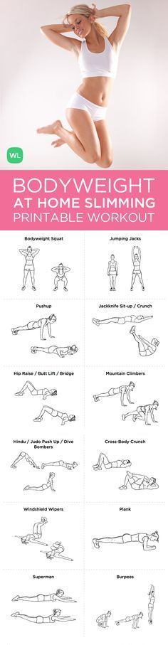 Visit http://workoutlabs.com/workout-plans/bodyweight-at-home-full-body-slimming-workout/ for a FREE PDF of this Bodyweight At-Home Full Body Slimming printable workout that will help you get and stay fit without any equipment.