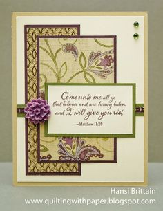 """Here is one last card for the Heart 2 Heart """" Sentimentally Yours"""" challenge. Close to My Heart's new Look to the Light stamp s..."""