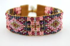 Beaded Loomed Bracelet with Purple Pink  and by LiTelleJewelry, $85.00