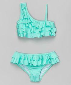 Another great find on #zulily! Mint Ruffle Asymmetrical Strap Bikini by 9's Swimwear #zulilyfinds