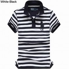 Ralph Lauren Men Custom Fit Big Pony Striped Polo White Black