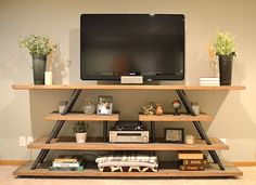 diy industrial entertainment center from homemademidwest.com