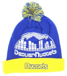 c16532f3dea Amazon.com   NBA Officially Licensed Denver Nuggets Blue Gold Retro Team  Name Cuffed Pom Beanie Hat Cap Lid   Sports   Outdoors