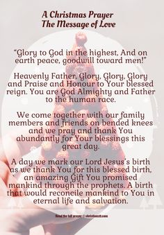"""(via christianstt.com) A Christmas Prayer The Message of Love (Click for """"The Message of Love."""")"""
