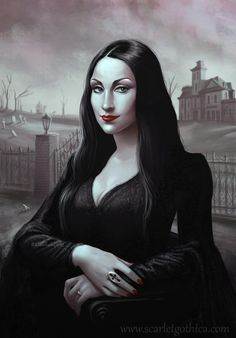 "This was tagged as ""Gothic Mona Lisa"" but it's totally Morticia Addams!"